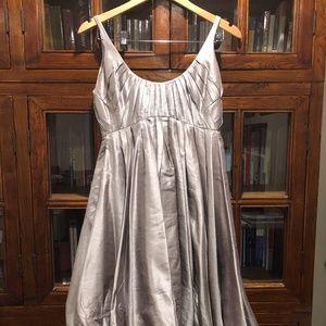 Zac Posen Silver Dress with Bubble Hem